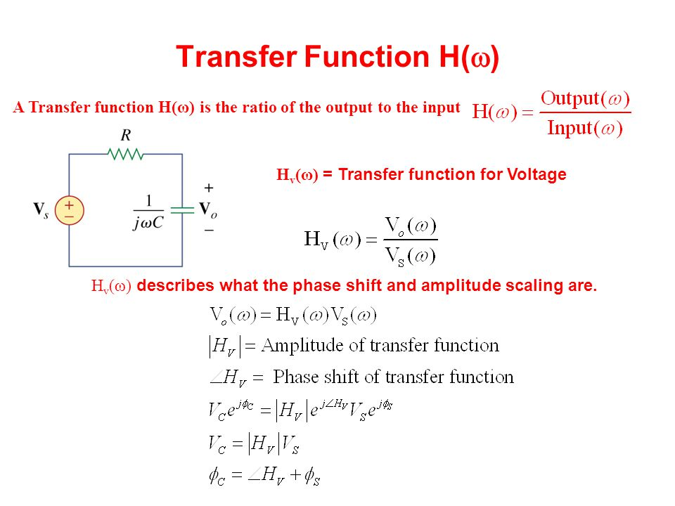 Transfer Function H(  ) H v (ω) = Transfer function for Voltage H v (ω) describes what the phase shift and amplitude scaling are. A Transfer function