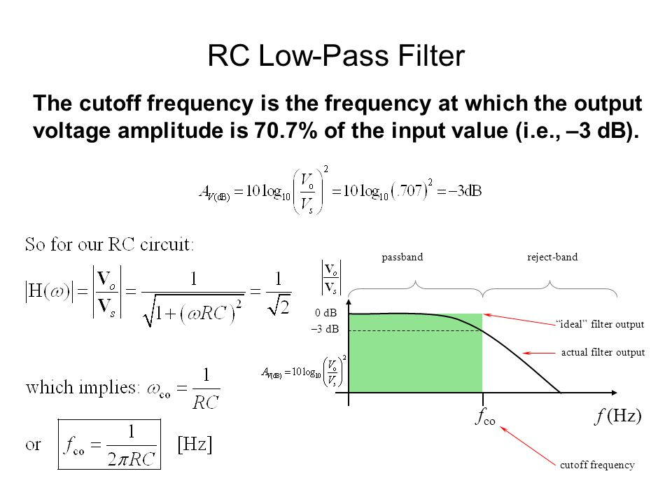 RC Low-Pass Filter The cutoff frequency is the frequency at which the output voltage amplitude is 70.7% of the input value (i.e., –3 dB).