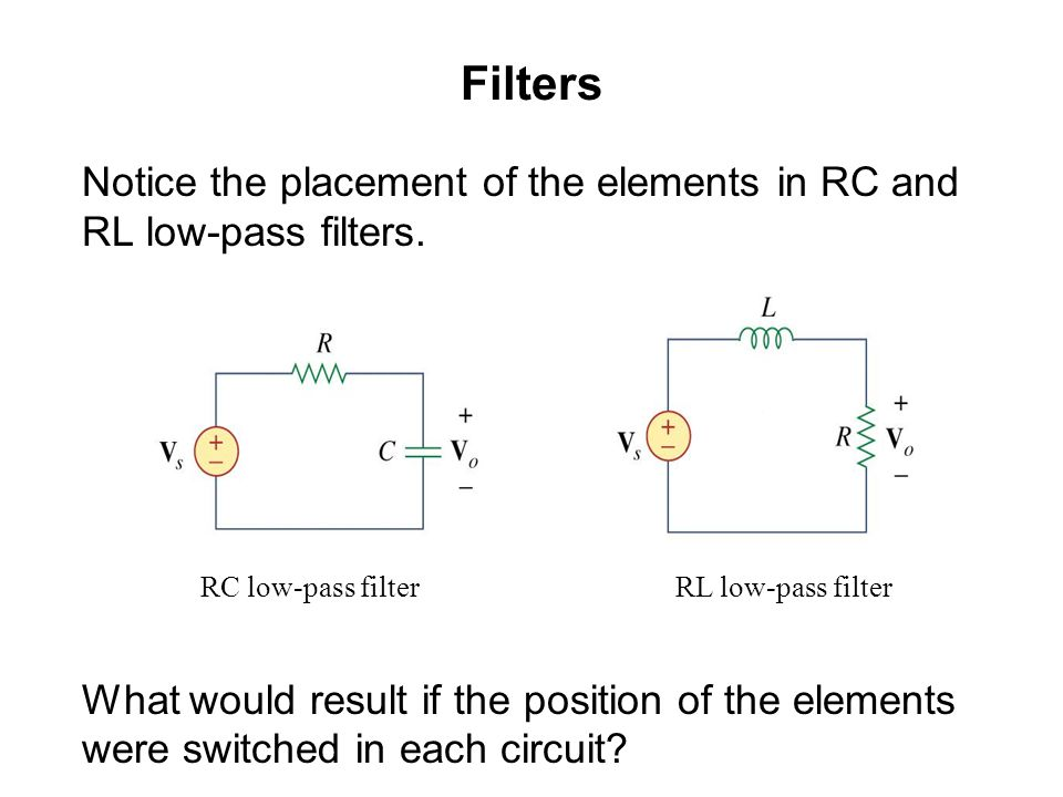 Filters Notice the placement of the elements in RC and RL low-pass filters. What would result if the position of the elements were switched in each ci