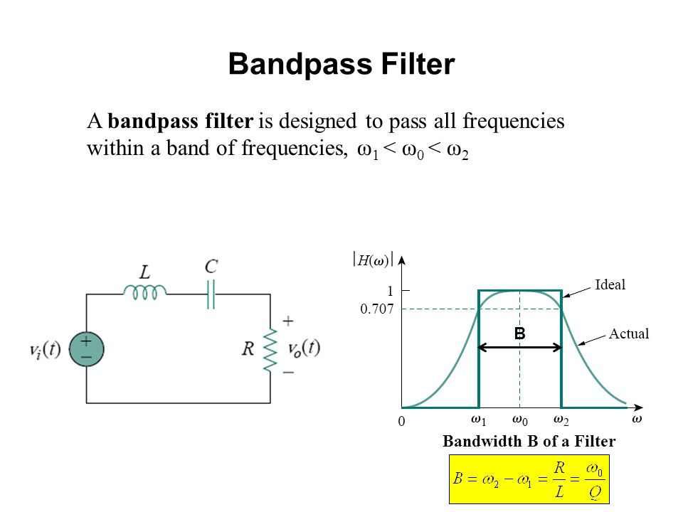 Bandpass Filter A bandpass filter is designed to pass all frequencies within a band of frequencies, ω 1 < ω 0 < ω 2 Bandwidth B of a Filter B