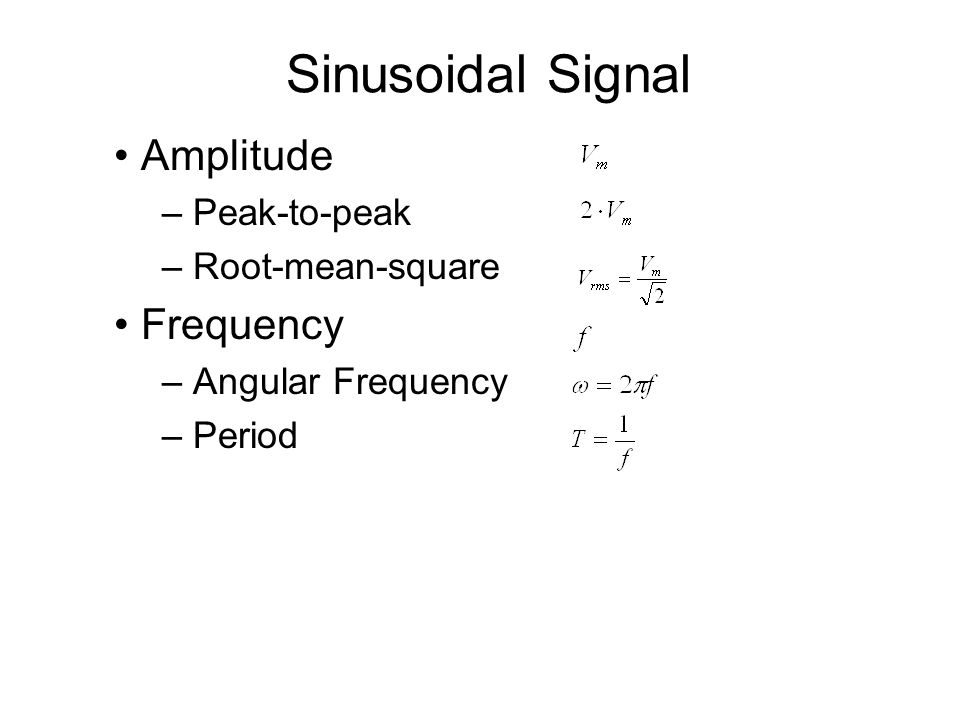 Amplitude – Peak-to-peak – Root-mean-square Frequency – Angular Frequency – Period