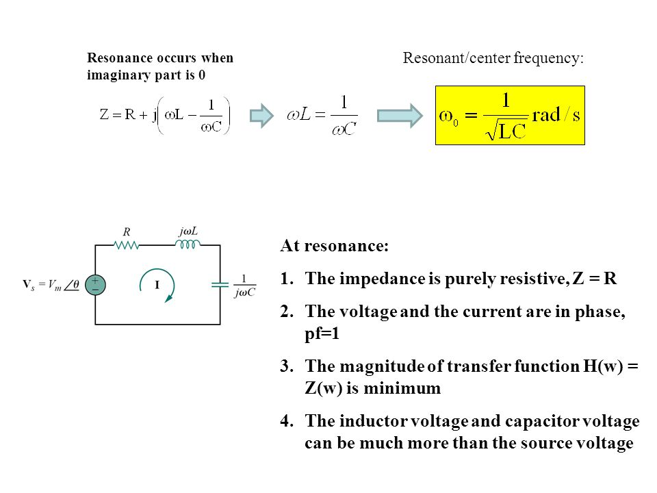 At resonance: 1.The impedance is purely resistive, Z = R 2.The voltage and the current are in phase, pf=1 3.The magnitude of transfer function H(w) = Z(w) is minimum 4.The inductor voltage and capacitor voltage can be much more than the source voltage Resonant/center frequency: Resonance occurs when imaginary part is 0