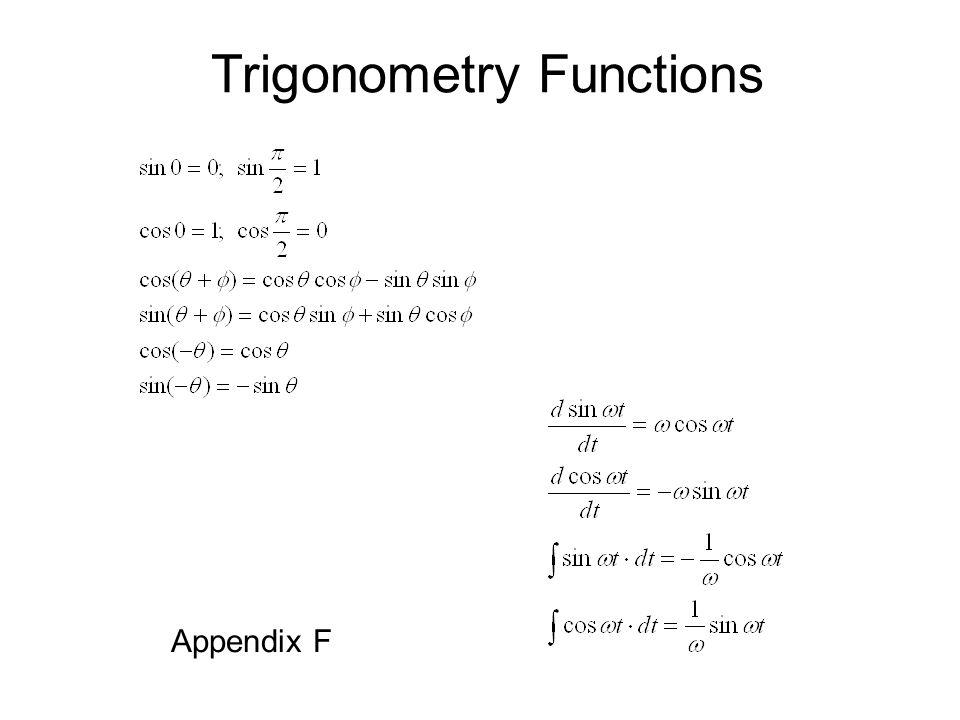 Trigonometry Functions Appendix F