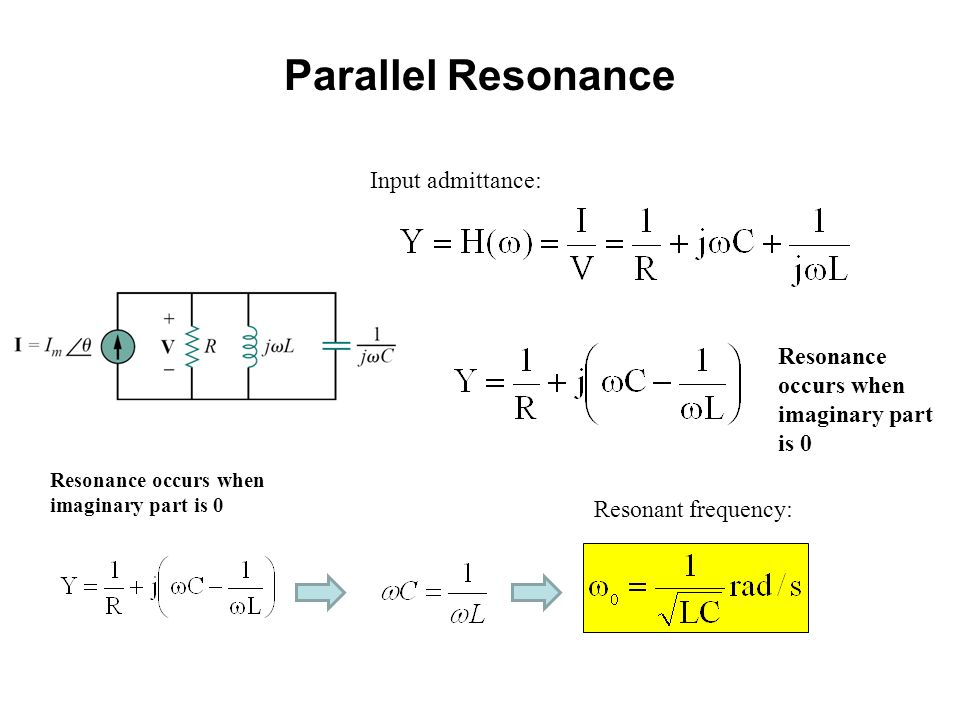 Input admittance: Resonant frequency: Resonance occurs when imaginary part is 0 Parallel Resonance