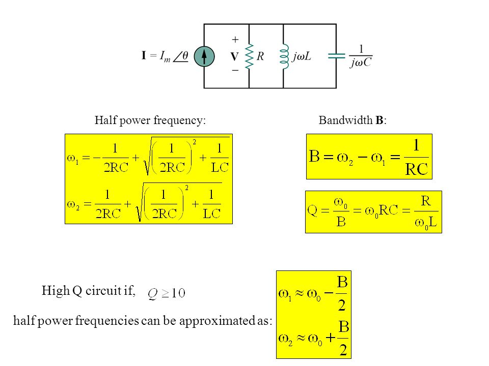 Half power frequency:Bandwidth B: High Q circuit if, half power frequencies can be approximated as: