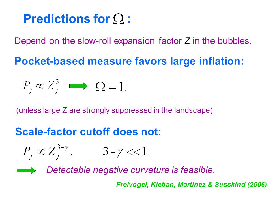 Predictions for : Depend on the slow-roll expansion factor Z in the bubbles. Pocket-based measure favors large inflation: Scale-factor cutoff does not