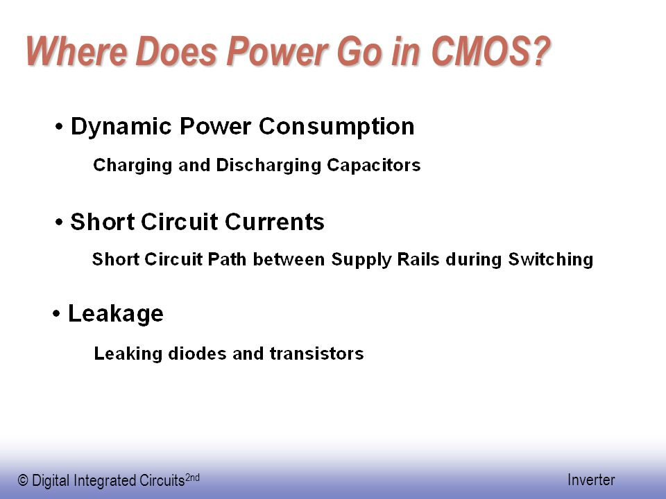 © Digital Integrated Circuits 2nd Inverter Where Does Power Go in CMOS