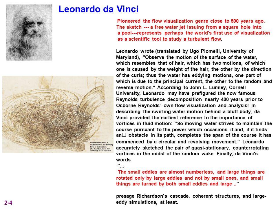 Leonardo da Vinci Pioneered the flow visualization genre close to 500 years ago.