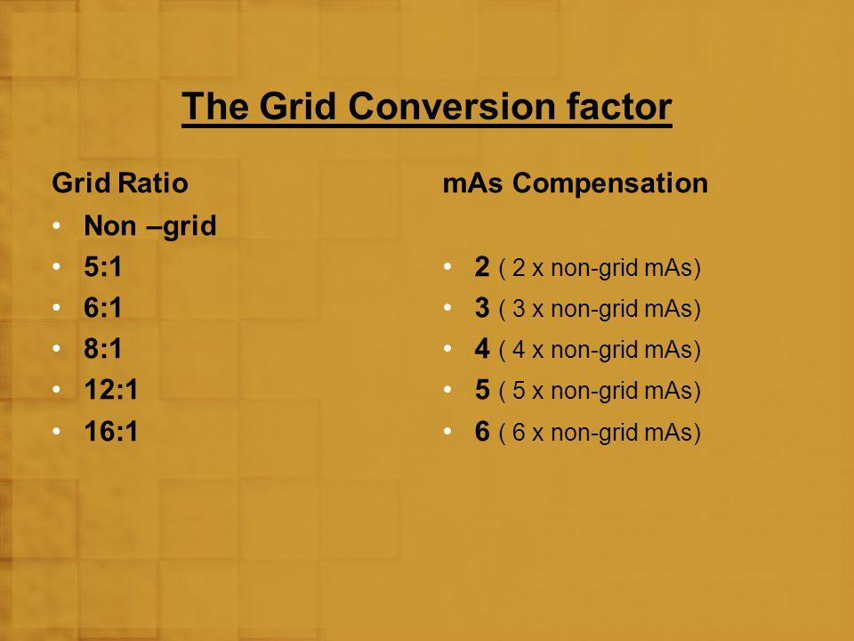 The Grid Conversion factor Grid Ratio Non –grid 5:1 6:1 8:1 12:1 16:1 mAs Compensation 2 ( 2 x non-grid mAs) 3 ( 3 x non-grid mAs) 4 ( 4 x non-grid mA