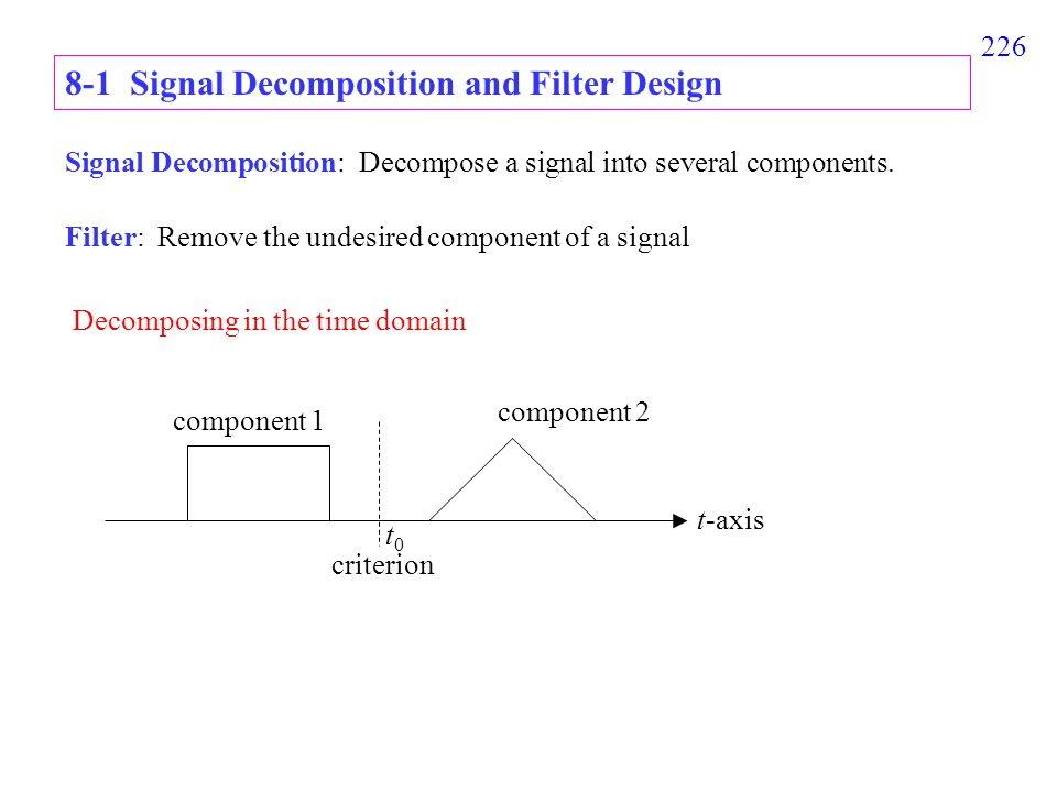 226 8-1 Signal Decomposition and Filter Design Signal Decomposition: Decompose a signal into several components.