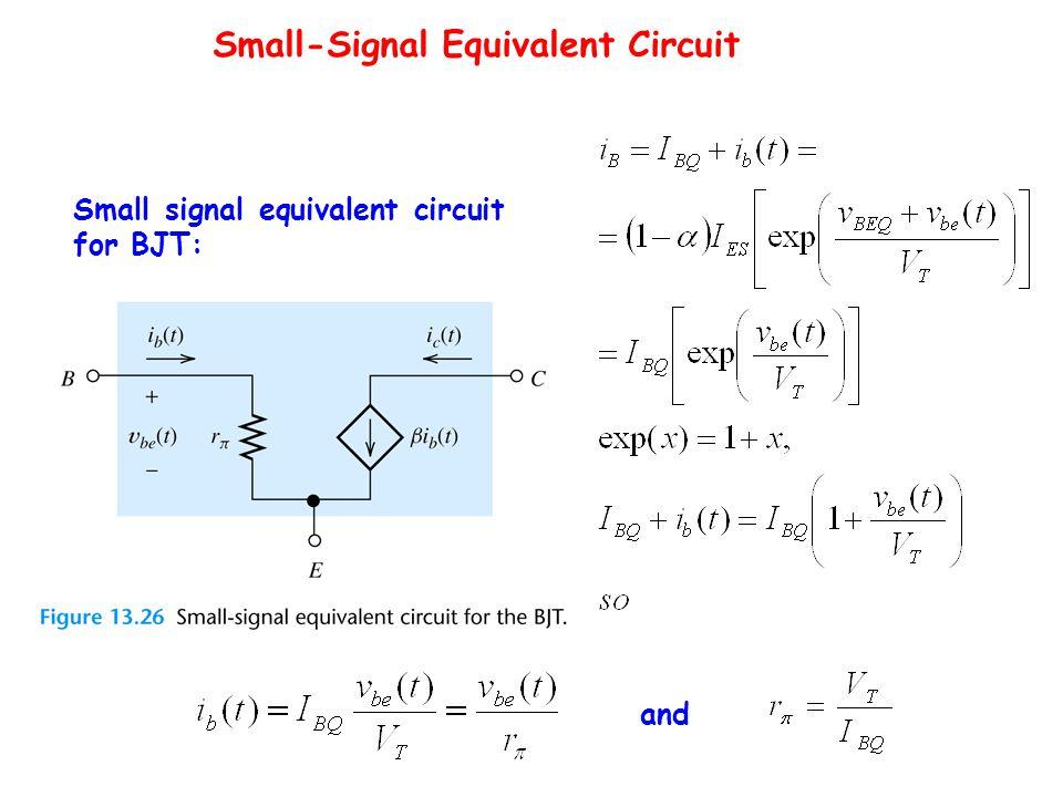 Small-Signal Equivalent Circuit Thevenin equivalent Small signal equivalent circuit for BJT: and