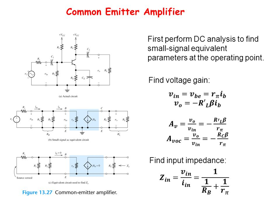 Common Emitter Amplifier Find voltage gain: First perform DC analysis to find small-signal equivalent parameters at the operating point.
