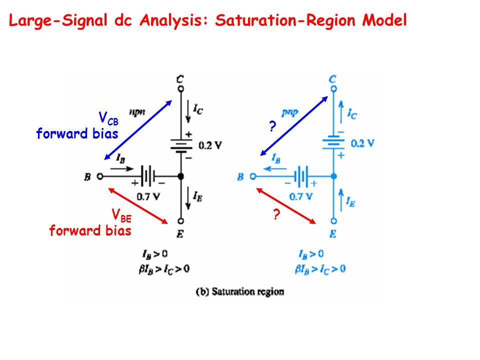 Large-Signal dc Analysis: Saturation-Region Model V BE forward bias V CB forward bias ? ?