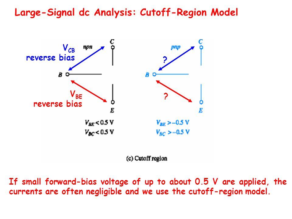 Large-Signal dc Analysis: Cutoff-Region Model V CB reverse bias V BE reverse bias .