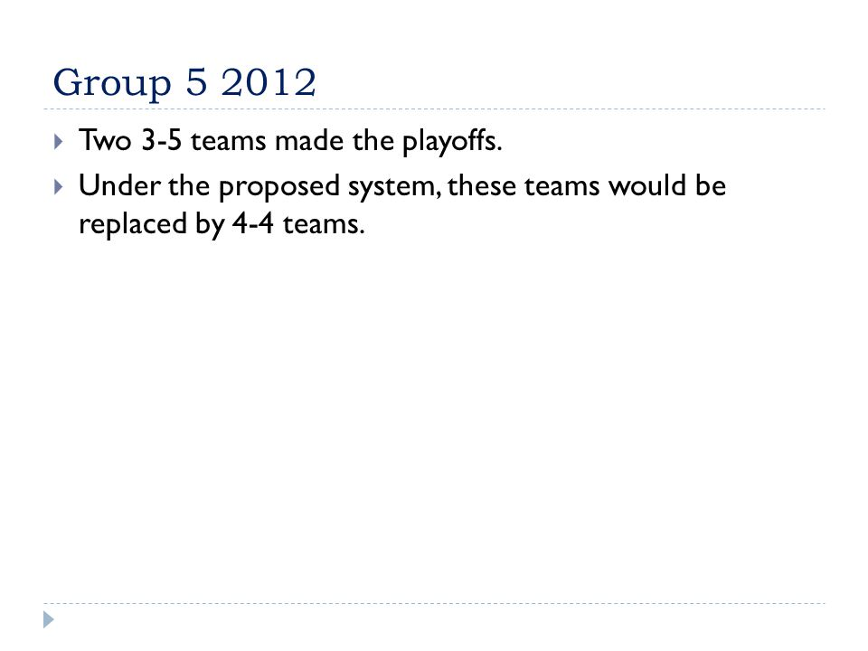 Group 5 2012  Two 3-5 teams made the playoffs.