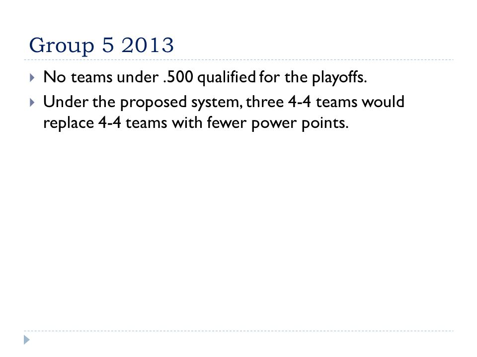 Group 5 2013  No teams under.500 qualified for the playoffs.