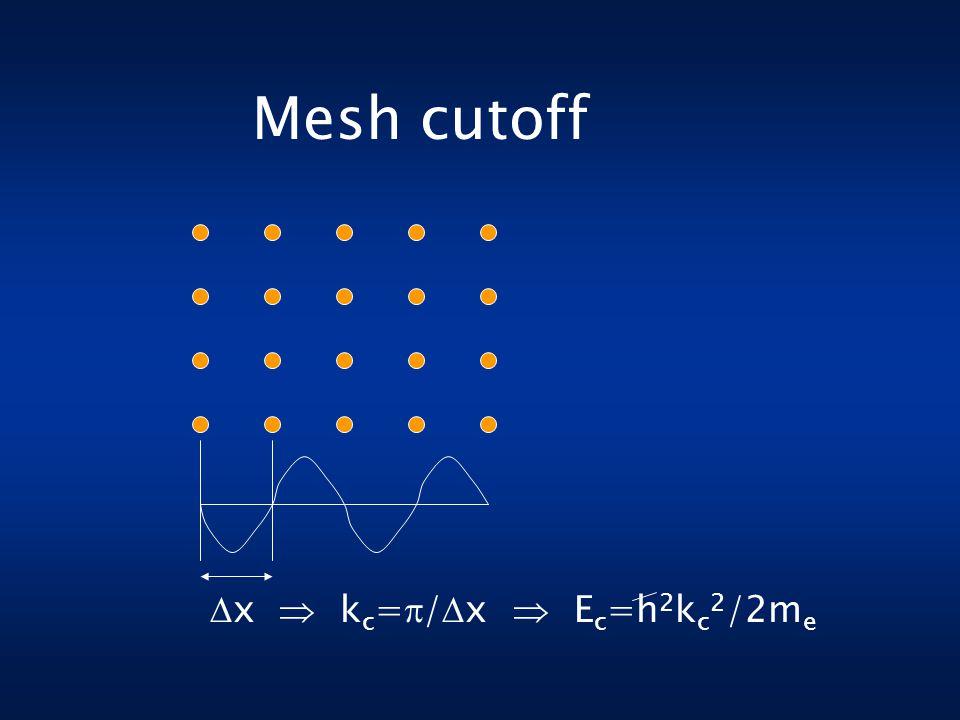 Mesh cutoff  x  k c =  /  x  E c =h 2 k c 2 /2m e