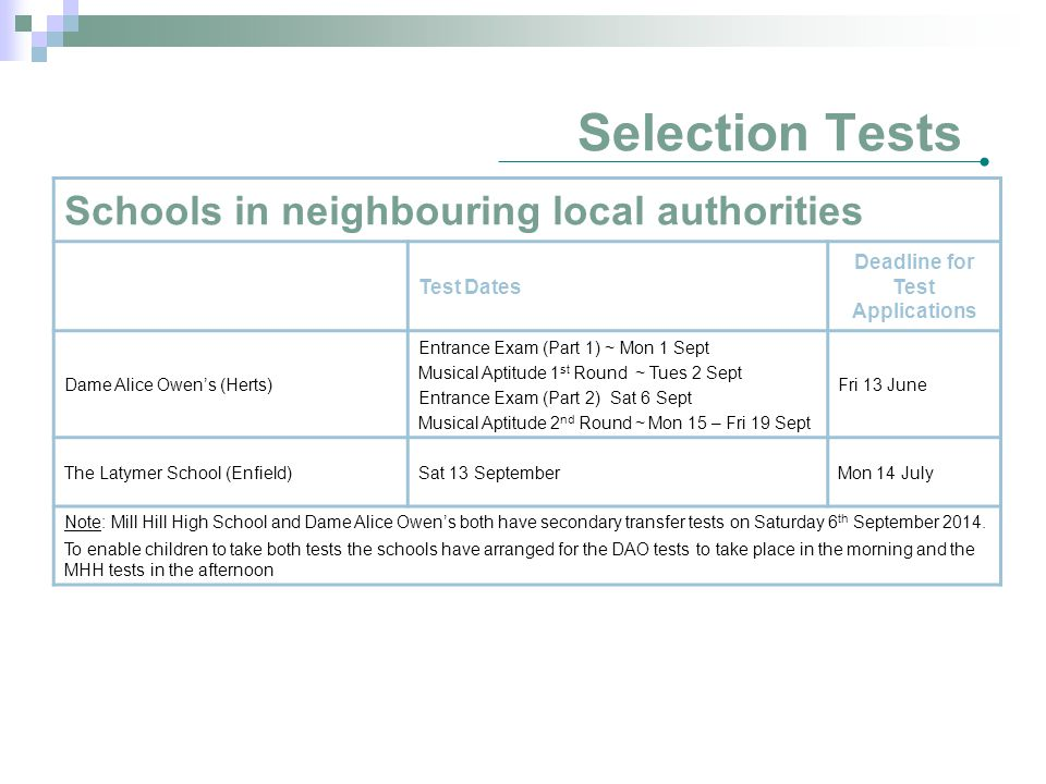 Selection Tests Schools in neighbouring local authorities Test Dates Deadline for Test Applications Dame Alice Owen's (Herts) Entrance Exam (Part 1) ~