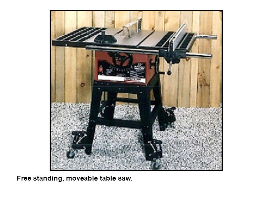 Free standing, moveable table saw.
