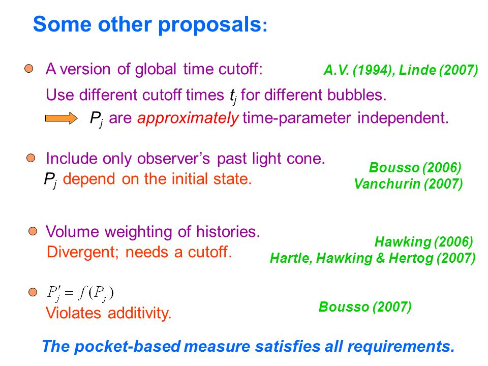 Some other proposals : A version of global time cutoff: Use different cutoff times t j for different bubbles.