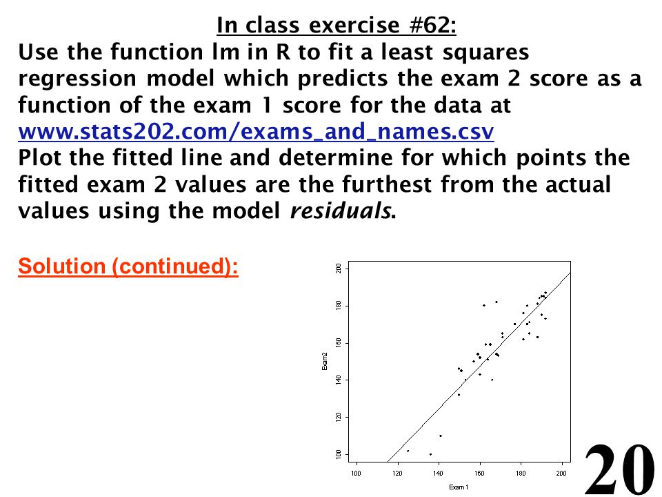 20 In class exercise #62: Use the function lm in R to fit a least squares regression model which predicts the exam 2 score as a function of the exam 1 score for the data at www.stats202.com/exams_and_names.csv Plot the fitted line and determine for which points the fitted exam 2 values are the furthest from the actual values using the model residuals.