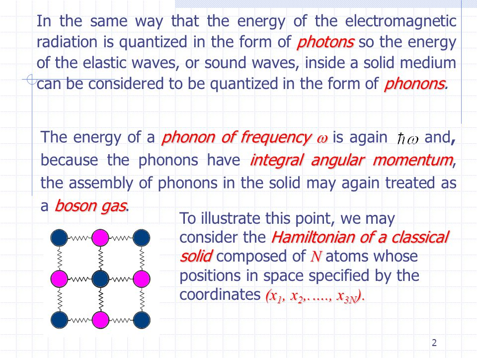 2 photons phonons In the same way that the energy of the electromagnetic radiation is quantized in the form of photons so the energy of the elastic waves, or sound waves, inside a solid medium can be considered to be quantized in the form of phonons.