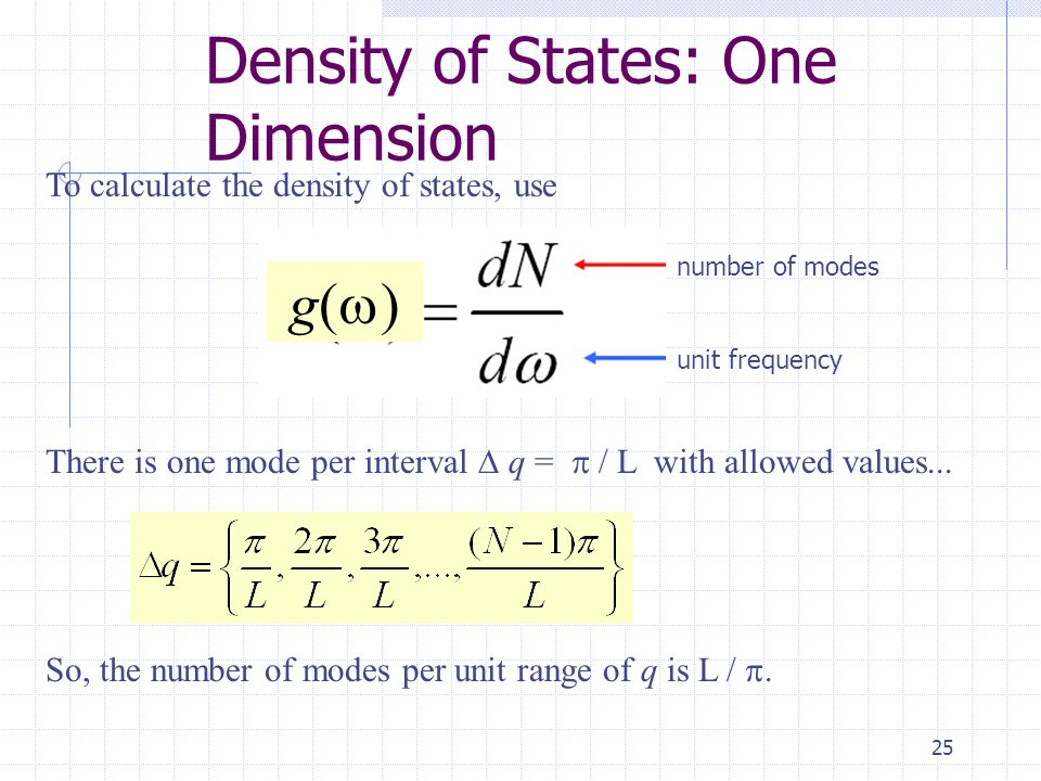 25 Density of States: One Dimension To calculate the density of states, use number of modes unit frequency g()g() There is one mode per interval  q =  / L with allowed values...