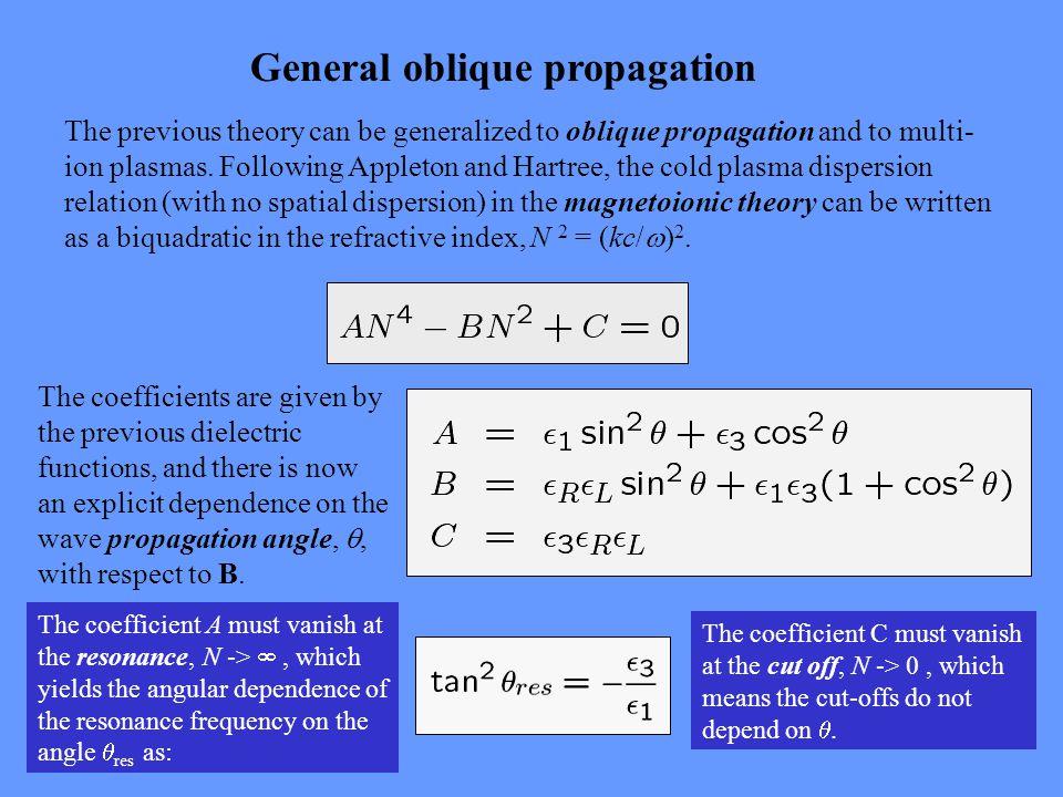 General oblique propagation The previous theory can be generalized to oblique propagation and to multi- ion plasmas.