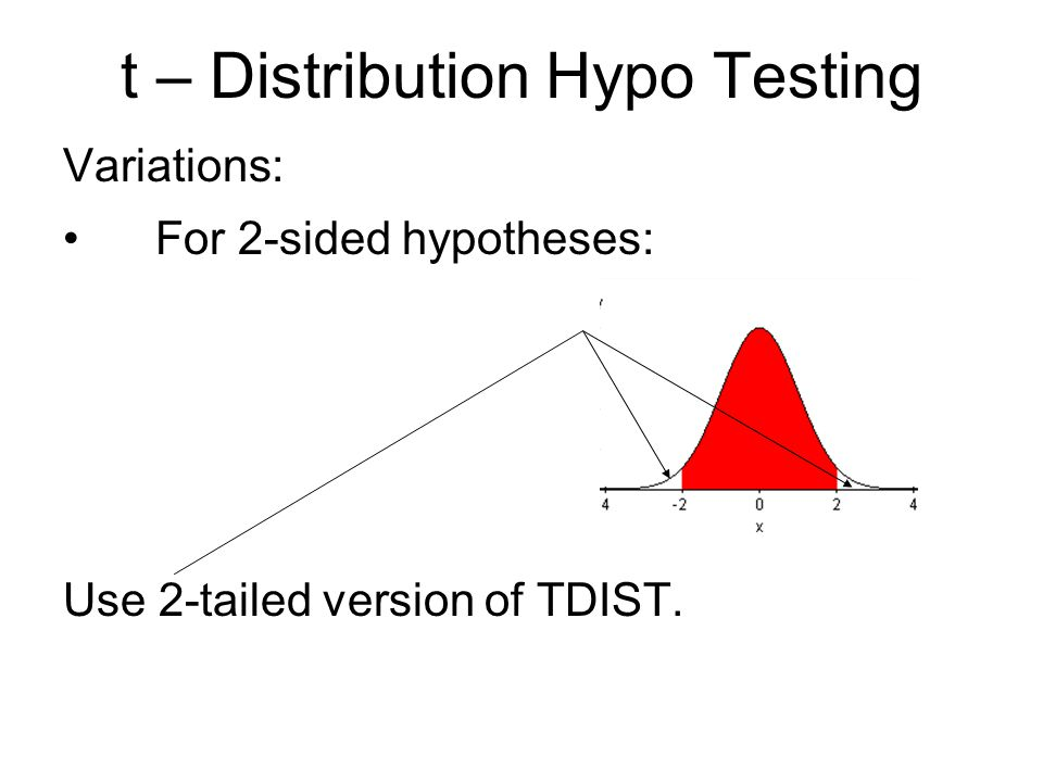 t – Distribution Hypo Testing Variations: For 2-sided hypotheses: Use 2-tailed version of TDIST.