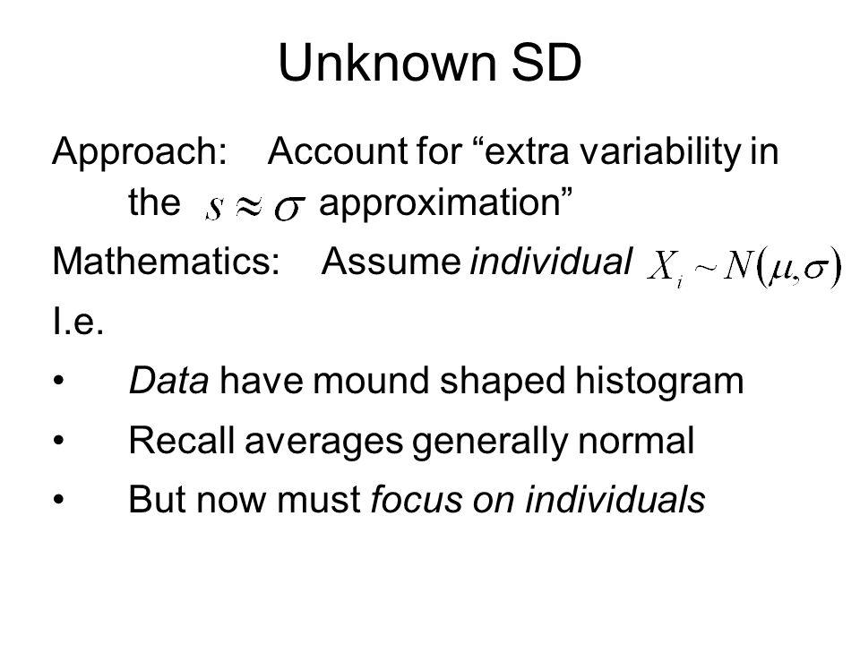 t - Distribution HW: C21 v.P{ T  > 1.18} (0.323, 0.261, 0.240, 0.238) vi.P{ T  < 2.39} (0.903, 0.966, 0.982, 0.983) vii.P{ T  < -2.74} (0, 0, 0, 0) viii.C so that 0.05 = P{ T  > C} (3.18, 2.17, 1.98, 1.96) ix.C so that 0.99 = P{ T  < C} (5.84, 3.05, 2.61, 2.58)