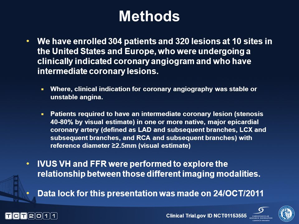 Methods We have enrolled 304 patients and 320 lesions at 10 sites in the United States and Europe, who were undergoing a clinically indicated coronary