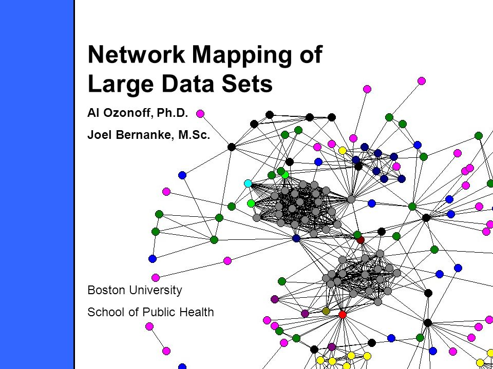 Network Mapping of Large Data Sets Al Ozonoff, Ph.D. Joel Bernanke, M.Sc. Boston University School of Public Health