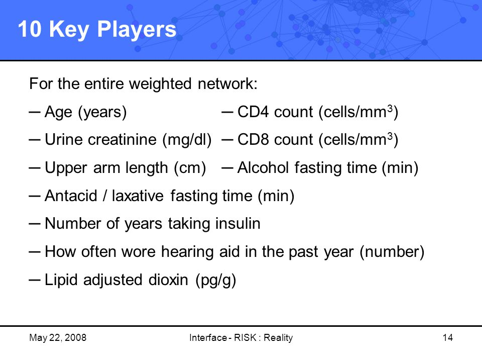 May 22, 2008Interface - RISK : Reality14 10 Key Players For the entire weighted network: ─ Age (years)─ CD4 count (cells/mm 3 ) ─ Urine creatinine (mg