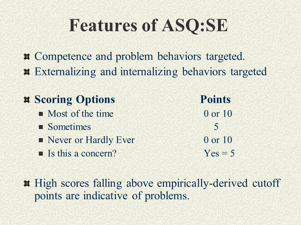Features of ASQ:SE Competence and problem behaviors targeted.