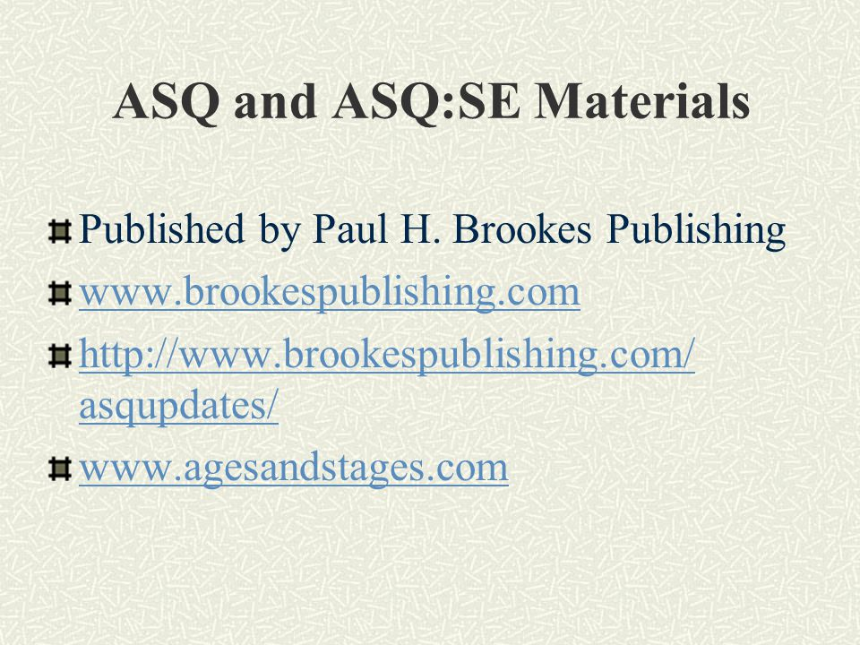 ASQ and ASQ:SE Materials Published by Paul H.