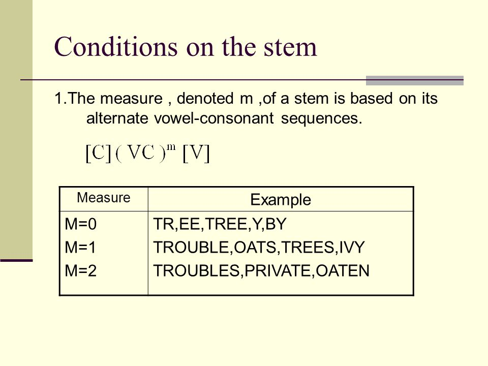 Conditions on the stem 1.The measure, denoted m,of a stem is based on its alternate vowel-consonant sequences. Measure Example M=0 M=1 M=2 TR,EE,TREE,