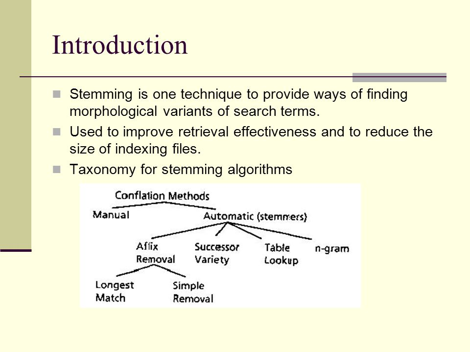 Introduction Stemming is one technique to provide ways of finding morphological variants of search terms.