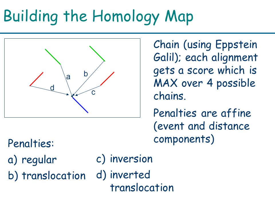 Building the Homology Map d a b c Chain (using Eppstein Galil); each alignment gets a score which is MAX over 4 possible chains.