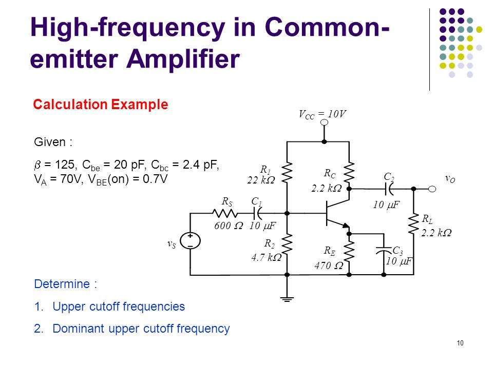High-frequency in Common- emitter Amplifier vOvO 22 k  V CC = 10V 4.7 k  RSRS C1C1 10  F C2C2 C3C3 600  470  2.2 k  R1R1 RCRC RERE R2R2 vSvS RLRL Given :  = 125, C be = 20 pF, C bc = 2.4 pF, V A = 70V, V BE (on) = 0.7V Determine : 1.Upper cutoff frequencies 2.Dominant upper cutoff frequency Calculation Example 10