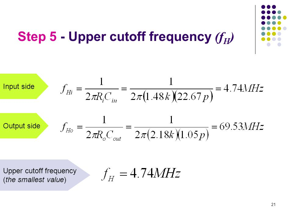 Input side Output side Upper cutoff frequency (the smallest value) Step 5 - Upper cutoff frequency (f H ) 21