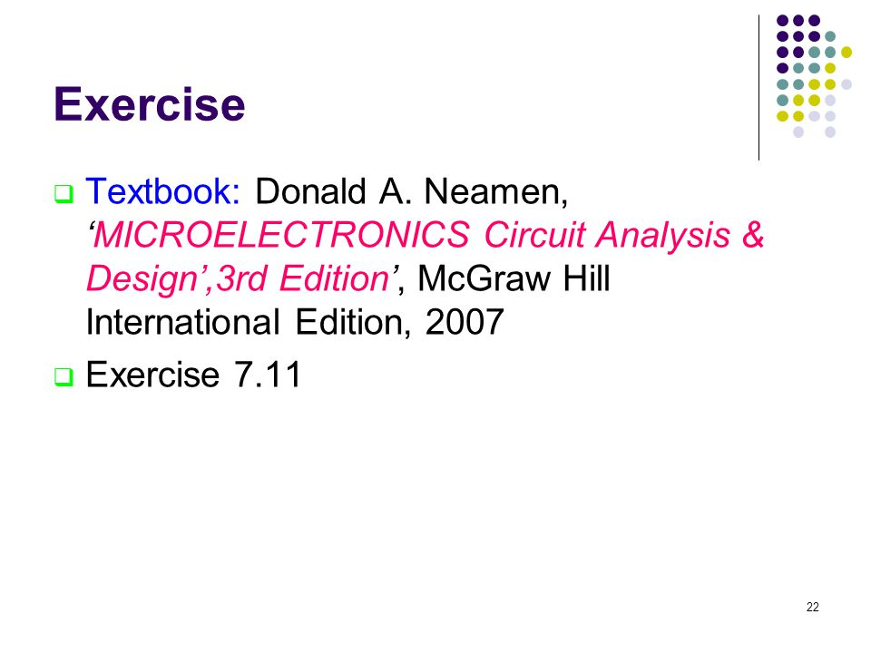 Exercise  Textbook: Donald A.