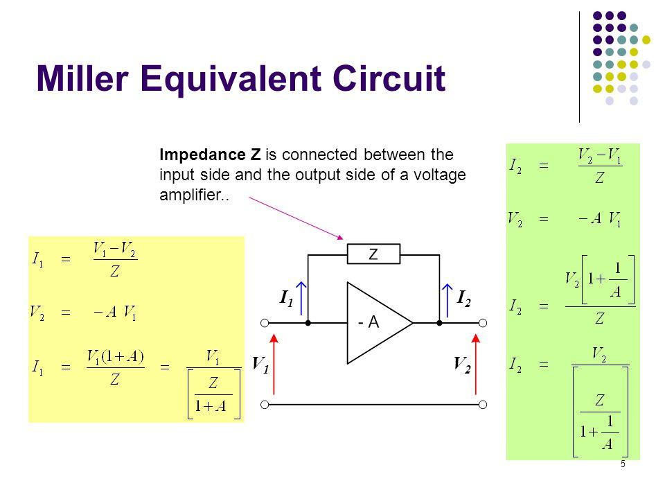Miller Equivalent Circuit I2I2 I1I1 V1V1 V2V2 Impedance Z is connected between the input side and the output side of a voltage amplifier.. 5
