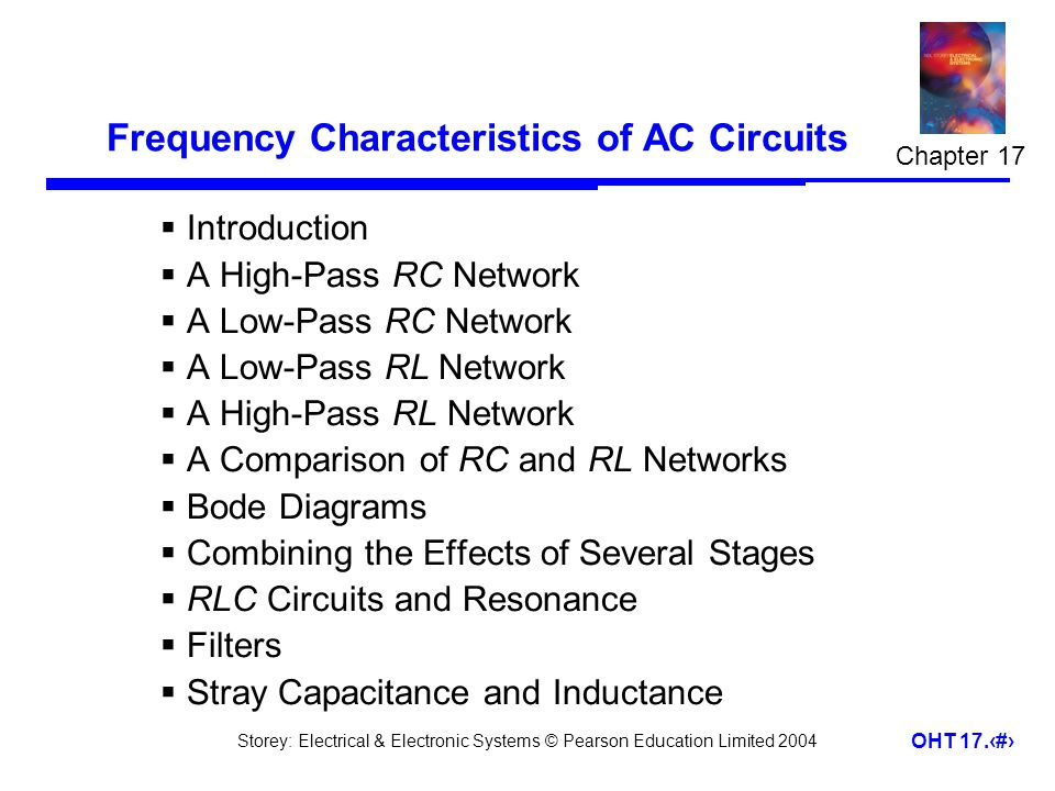 Storey: Electrical & Electronic Systems © Pearson Education Limited 2004 OHT 17.1 Frequency Characteristics of AC Circuits  Introduction  A High-Pas