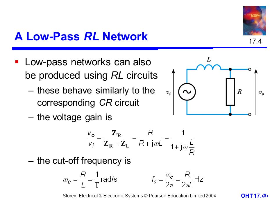 Storey: Electrical & Electronic Systems © Pearson Education Limited 2004 OHT 17.19 A Low-Pass RL Network  Low-pass networks can also be produced usin
