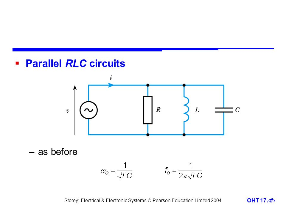 Storey: Electrical & Electronic Systems © Pearson Education Limited 2004 OHT 17.30  Parallel RLC circuits –as before