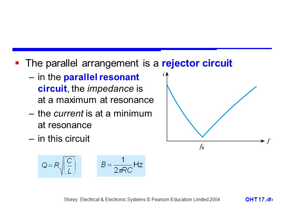 Storey: Electrical & Electronic Systems © Pearson Education Limited 2004 OHT 17.31  The parallel arrangement is a rejector circuit –in the parallel r