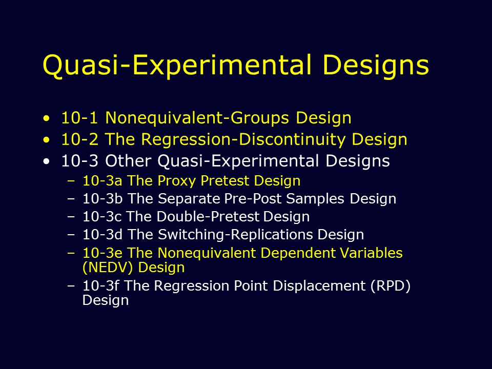 Regression-Discontinuity Design A pretest-posttest, program-comparison group quasi-experimental design in which a cutoff criterion on the preprogram measure is the method of assignment to group C = groups assigned by means of a cutoff score