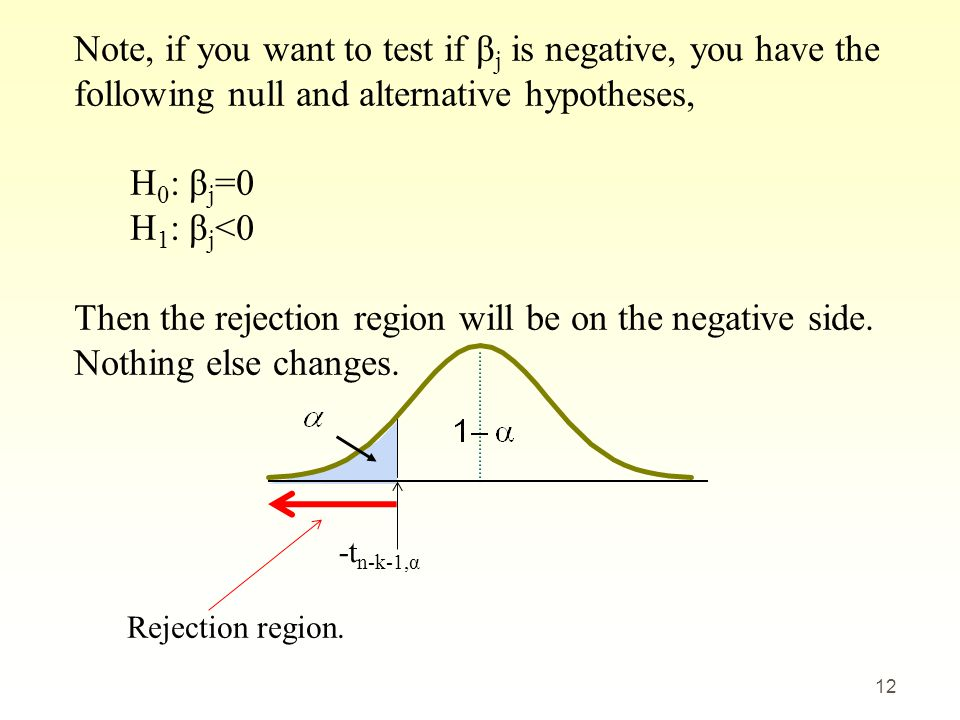-t n-k-1,α 12 Note, if you want to test if β j is negative, you have the following null and alternative hypotheses, H 0 : β j =0 H 1 : β j <0 Then the