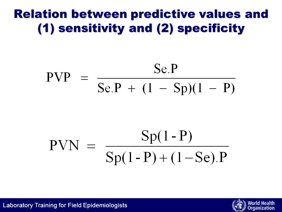 Laboratory Training for Field Epidemiologists Relation between predictive values and (1) sensitivity and (2) specificity