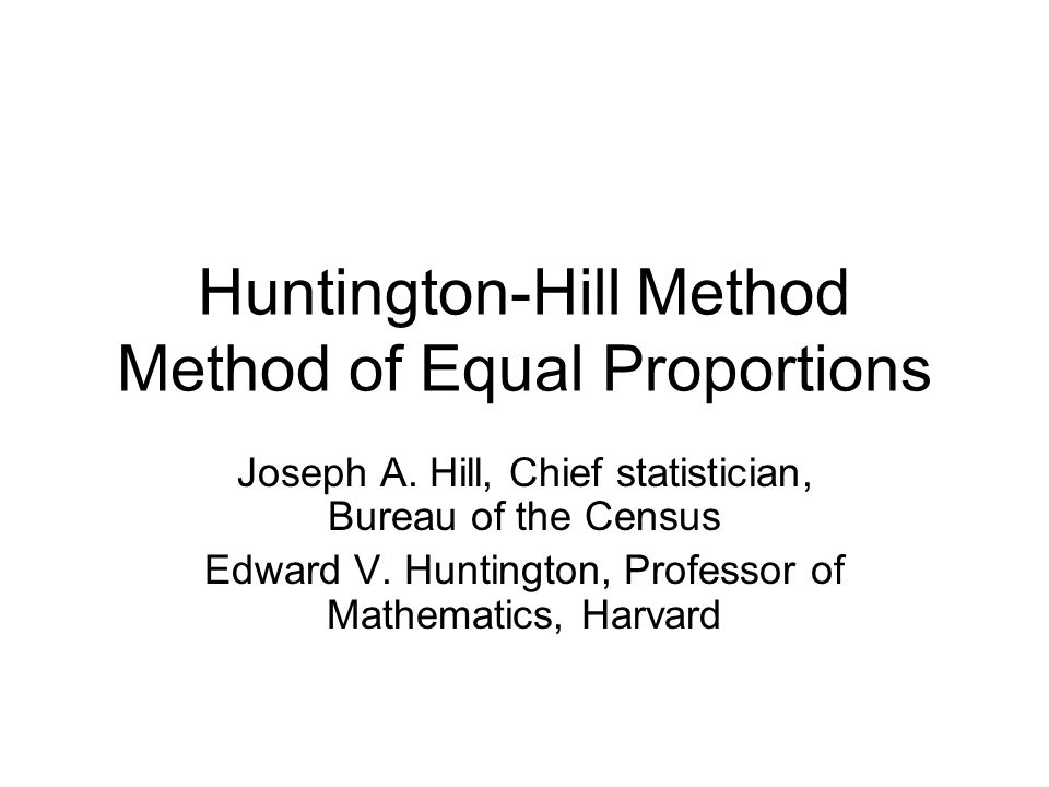 Huntington-Hill Method Method of Equal Proportions Joseph A.
